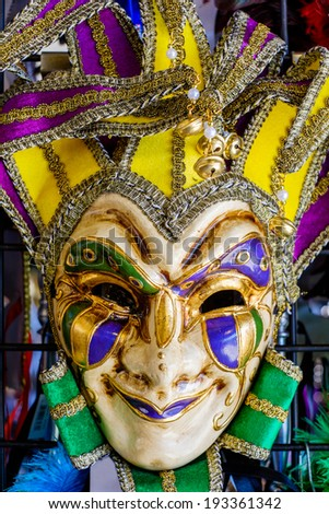 Colorful New Orleans style masquerade mask. - stock photo
