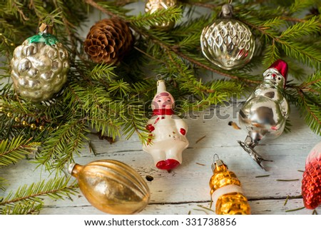 colorful New Year holiday decorations with fur-tree and toys - stock photo