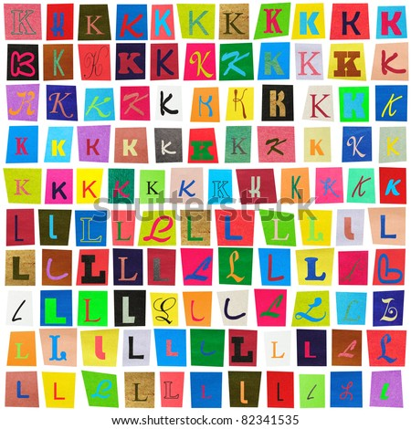 "Colorful newspaper alphabet of the letters ""K"" and ""L"" isolated on white - stock photo"
