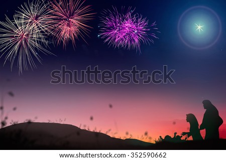 Colorful night with fireworks and nativity story background. Nativity Happy New Year Mercy Humble Evangelical Glorify Redeemer Card God Blessing Jesus Born Birth Happy Birthday New year 2016 concept. - stock photo