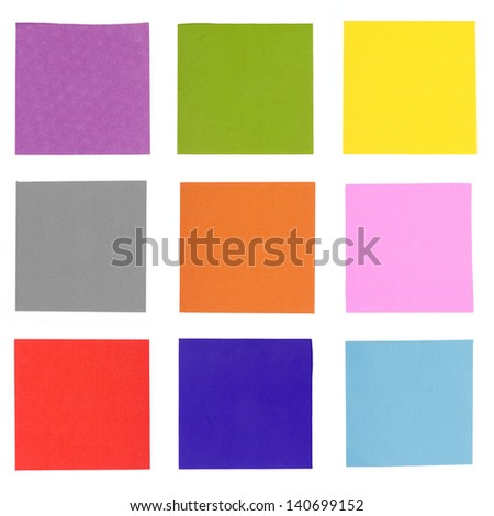 Colorful note paper isolated on white background