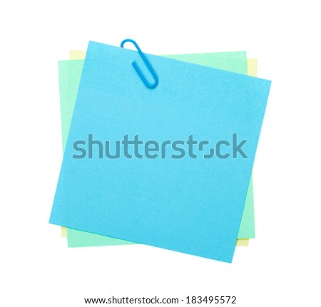 Colorful notes with clip. Isolated on white background - stock photo