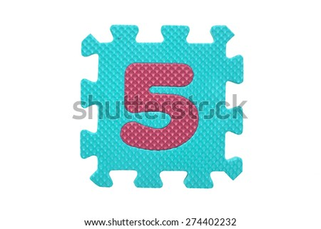 """Colorful number puzzle. Alphabet puzzle pieces isolated on white background. Number learning block for children education. The number  """"5"""" is a set of alphabet made in the form of a puzzle,Easy to cut - stock photo"""