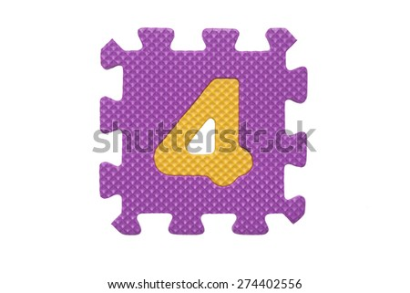 """Colorful number puzzle. Alphabet puzzle pieces isolated on white background. Number learning block for children education. The number  """"4"""" is a set of alphabet made in the form of a puzzle,Easy to cut - stock photo"""