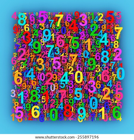 Colorful numbers background. - stock photo
