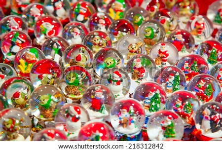 Colorful objects on the Christmas market in Strasbourg - stock photo