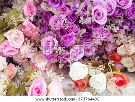 Colorful of Artificial flowers - stock photo