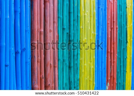 colorful of bamboo fence.in hot spring.