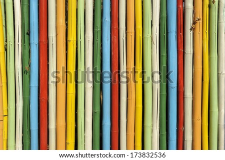 Colorful of bamboo wall - stock photo