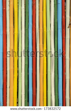 Colorful of bamboo wall