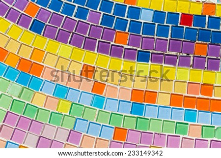 colorful of ceramic mosaic background - stock photo