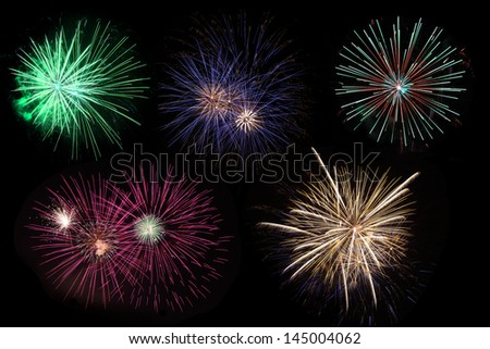 Colorful of fireworks displaying on black sky
