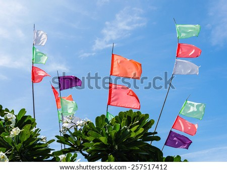 Colorful of flags at sky background - stock photo