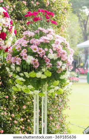 Colorful of fresh carnation with chrysanthemum flower on metal stand decorate in flower garden