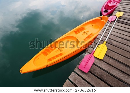 Colorful of Kayak on Quiet Lake Khao Sok in SuratThani, Thailand - stock photo