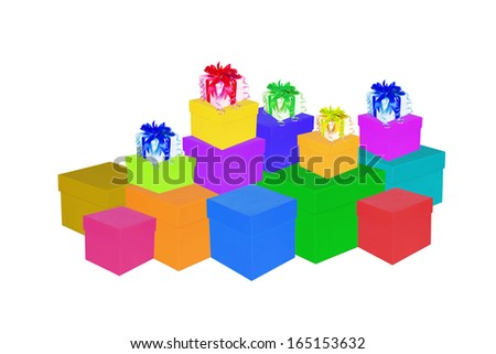 Colorful of paper gift box  isolated in white background. - stock photo
