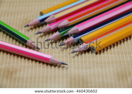 colorful of pencil  on wooden desk - stock photo