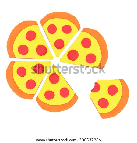 Colorful of pizza pieces plasticine on white background - stock photo