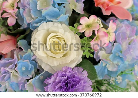colorful of rose artificial flower as background - stock photo