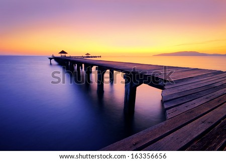 colorful of seascape before sunrise - stock photo