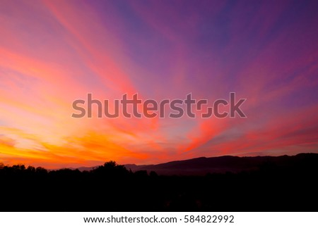 colorful of sky with clouds in the evening at Phukradueng famous mountain in Thailand