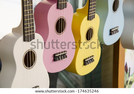 Colorful of ukulele guitar - stock photo