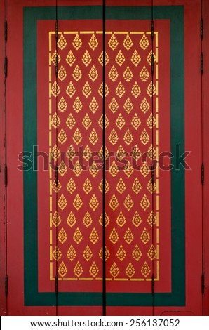 colorful of wall of buddhist temple in Bangkok, Thailand - stock photo