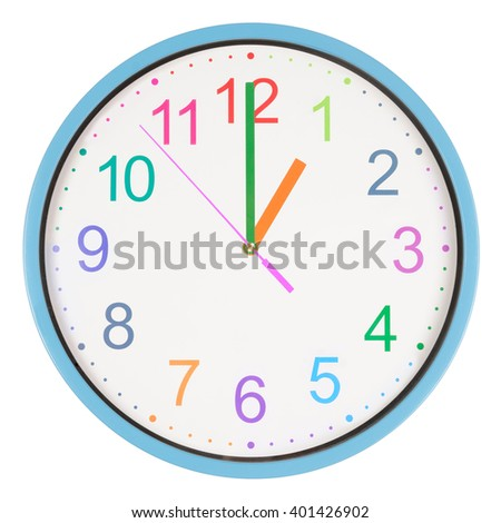 Colorful office clock showing one o'clock isolated on white background