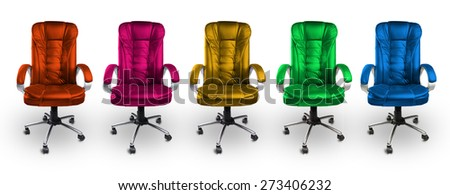 Colorful Office Leather Chairs - Red, Pink, Yellow, Green and Blue - stock photo