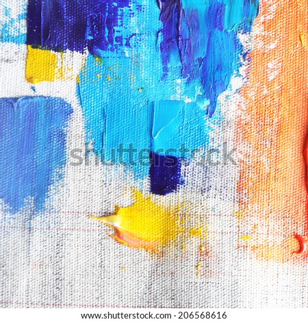 colorful oil paint on canvas  - stock photo