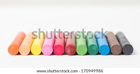 colorful oil pastels - stock photo