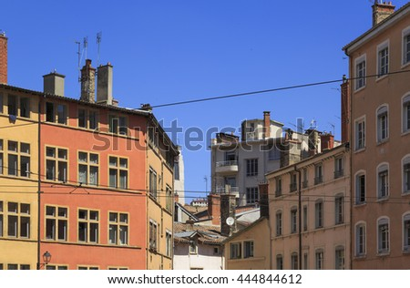Colorful, old buildings and a blue sky in Vieux-Lyon, Lyon, France.