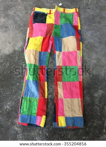 Colorful old fashion Corrugated pant design on floor - stock photo