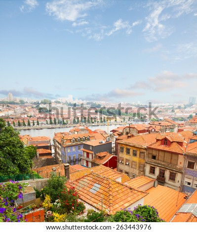 colorful old houses in historic part of town with Dour river, Porto, Portugal - stock photo