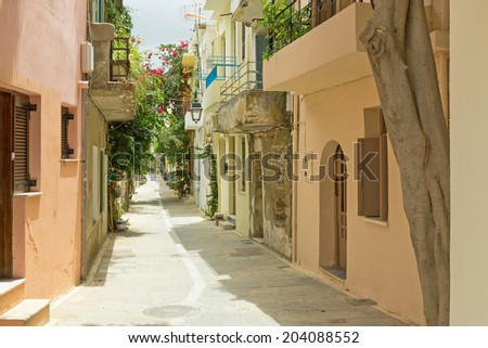 colorful old town of Rethymno is located in Crete - stock photo