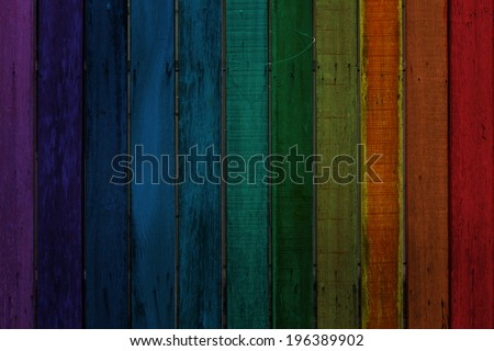 Colorful old wood wall, rainbow color