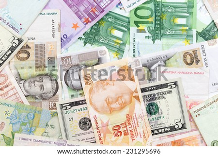 Colorful old World Paper Money background  - stock photo