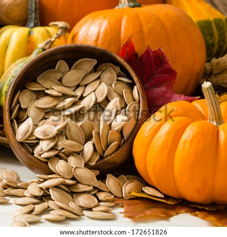 Colorful orange and yellow pumpkins and gourds surround a wooden bowl overflowing with toasted pumpkin seeds - stock photo