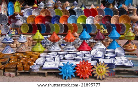 Colorful oriental pottery bazaar (Tunisia) - stock photo