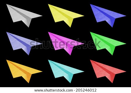 Colorful origami airplane paper   - stock photo
