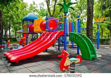 colorful outdoor playground at school - stock photo