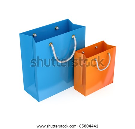 Colorful packets.3d rendered.Isolated on white background. - stock photo