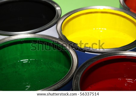 colorful paint cans - stock photo