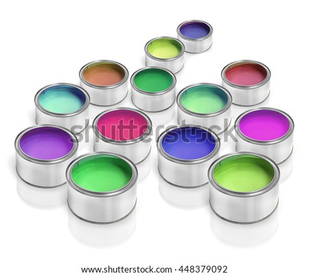 Colorful paint cans varieties on a white background  - stock photo