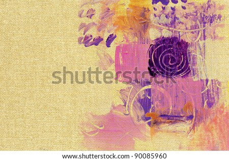 colorful paint glazes on canvas structure - stock photo