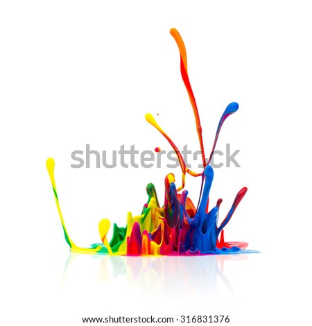 Colorful paint splash isolated on white background - stock photo