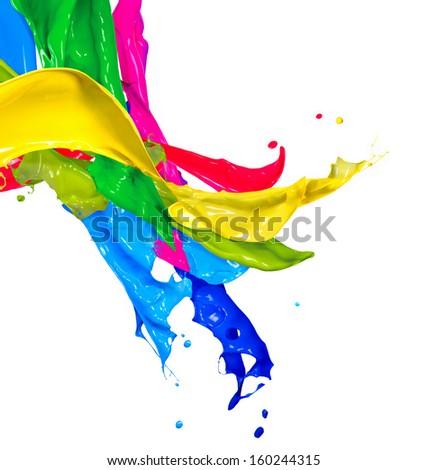 Colorful Paint Splash Isolated On White Stock Photo 160244315