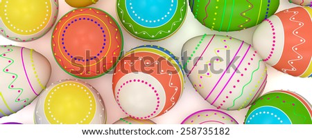 colorful painted Easter eggs. Isolated on white background - stock photo