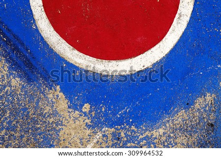 Colorful painted on court - stock photo