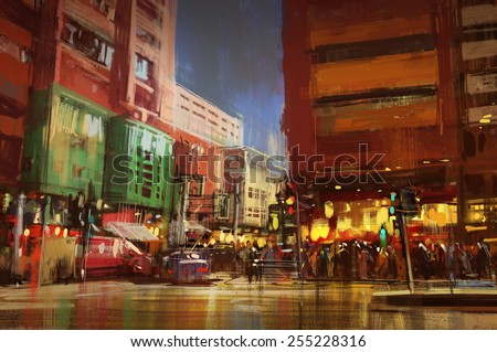 colorful painting of city street.illustration - stock photo